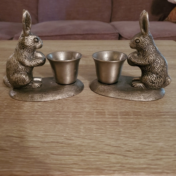 Pottery Barn Pewter Rabbit Candlestick holders
